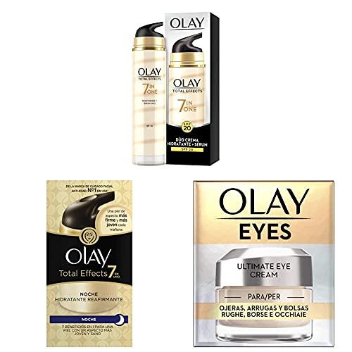 Olay Total Effects 7en1 Dúo Crema facial Hidratante + Crema de Noche Hidratante Reafirmante + Eye Cream para Ojeras, Arrugas y Bolsas