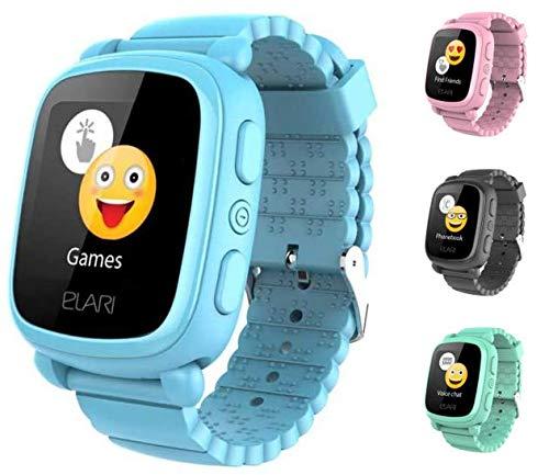 2G Reloj Inteligente Niño y Niña GPS Localizador y Llamadas Bidireccionales Audio, Chat de Voz, Botón SOS, Pantalla Táctil Grande y Brillante, Juegos - ELARI KidPhone 2 (Azul)