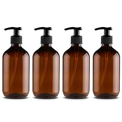 4 Stück 500 ml Flasche Handpumpe Lotion aus Kunststoff leer Flasche Shampoo PET Flasche Duschgel Seifenspender Flasche Sprühflasche für Familie jeden Tag, braun