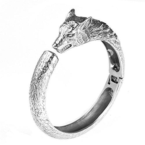 Daesar Armband Edelstahl Armband Herren Armband Wolf Kopf Armband Silber Armband Länge 22CM