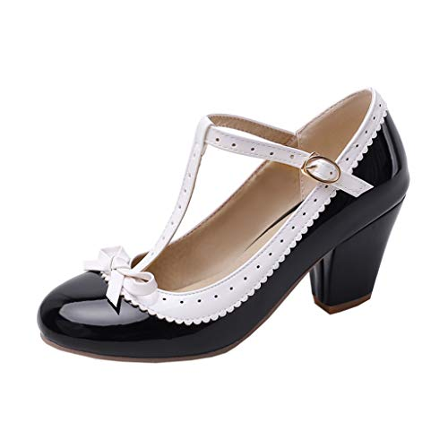 Womens Rockabilly Shoes T-Strap Mary Jane Block High Heel Closed Toe Pumps(Black,US Size 13)