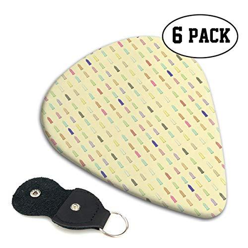 Kleurrijke Condoom Patroon 351 Vorm Klassieke Celluloid Gitaar Picks voor Uw Elektrische, Akoestische, Mandoline, Bas en Ukulele Gitaar .71mm 6-Pack