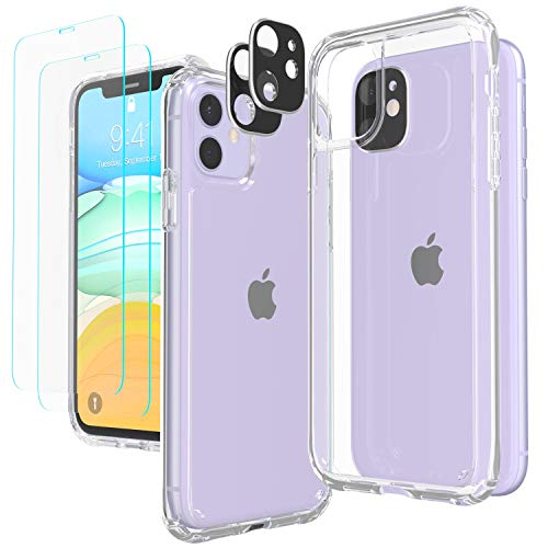 Temdan iPhone 11 Case with 2 Pack Tempered Glass Screen Protector & 2 Pack Camera Lens Protector for iPhone 11 [Shock Absorption] [Triple Protection] Anti Scratch iPhone 11 Case 6.1inch- Clear