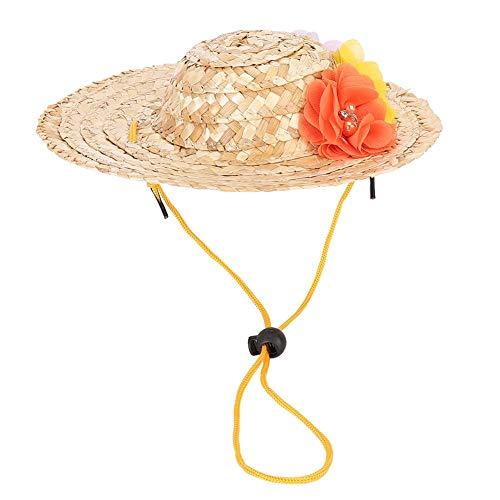 Pet Straw Hat, Mini Straw Sombrero Bloemen Hoeden Mexicaanse Hoeden Sombrero Party Hoeden voor Kleine Huisdieren Puppy Cat(S)