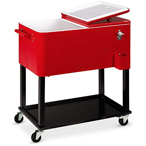 Best Choice Products 80qt Outdoor Steel Rolling Cooler Cart for Cookouts, Tailgating, BBQ w/Bottle Opener, Catch Tray, Drain Plug, and Locking Wheels - Red