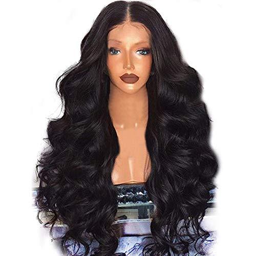 wuayi Perruque Femme et Filles Synthétique Noir, Perruques Longues Perruque Bouclée Perruques Cheveux Naturels pour Black Postiches Cheveux Naturels Femmes (Noir)