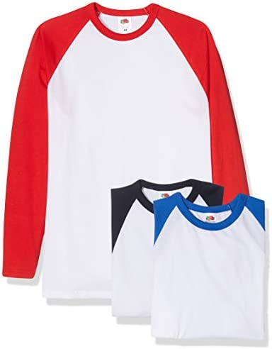 Fruit of the Loom Camiseta Manga Larga Béisbol Clásica, Pack de 3