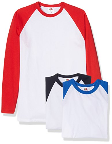 Fruit of the Loom Baseball Classic Long Sleeve Camiseta, Blanco Azul Marino/Blanco Rojo/Blanco Azul Royal, XXL (Pack de 3) para Hombre