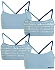 Reebok Girls' Racerback Seamless Crop Cami Bralette with Removable Pads (4 Pack)