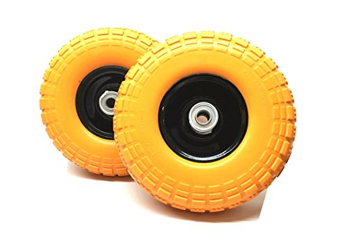 """UI PRO TOOLS Set of 2-10"""" Flat Free Tires Wheels with 5/8"""" Center - Solid Tire Wheel for Dolly Hand Truck Cart/All Purpose Utility Tire on Wheel"""