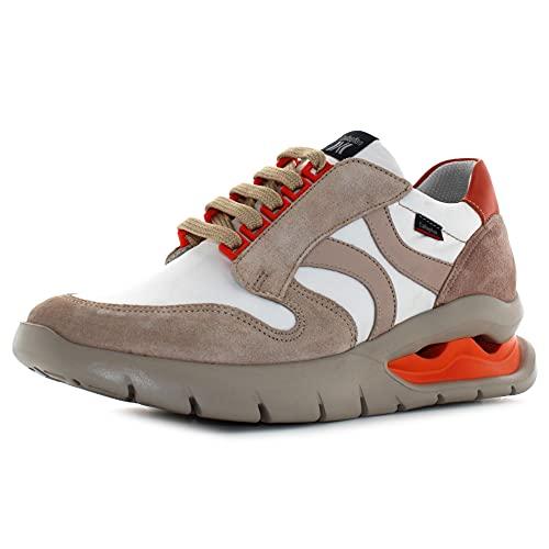 CALLAGHAN - Zapato Deportivo Casual, Sneakers con Cordones, Zapatillas cuña y Plataforma. Fabricado en Piel, para: Mujer Color: Face Talla:39