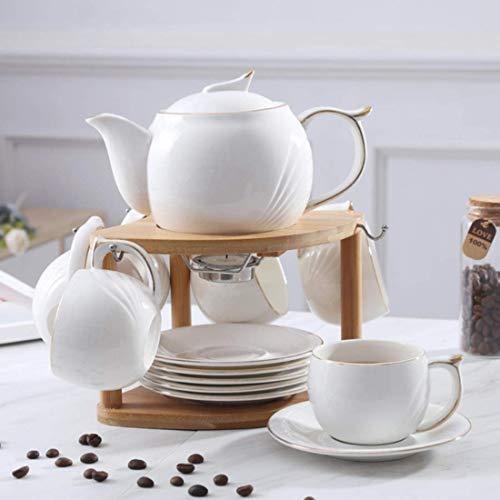 Nuokix Cerámica Simple Taza de café Conjunto de Hogares de la Tetera de la Tarde de Estar Flor del Sitio Tazas de té Conjunto de pequeña Capacidad Cafe Taza del té del hogar, 66
