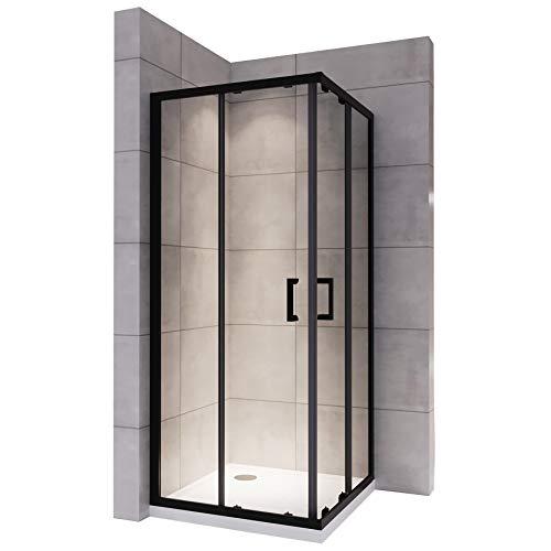 LANABLACK Cabine douche noire H 190 cm porte coulissante transparente 80 x 80 cm + receveur