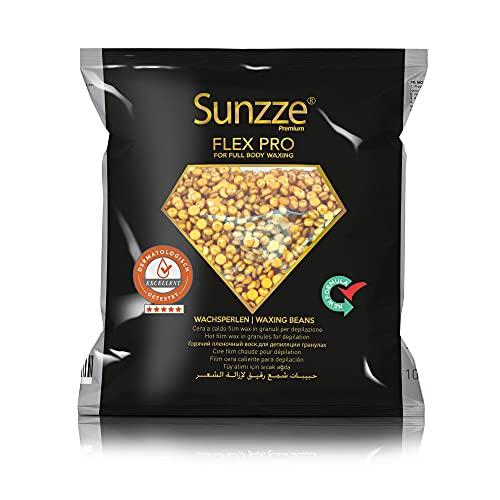 Sunzze Gold Wachsperlen Flex Pro Full body Luxery Wax, Wachs Haarentfernung, für Ganzkörper Enthaarung, Heißwachs, feinkörnige Wachsbohnen (1kg)