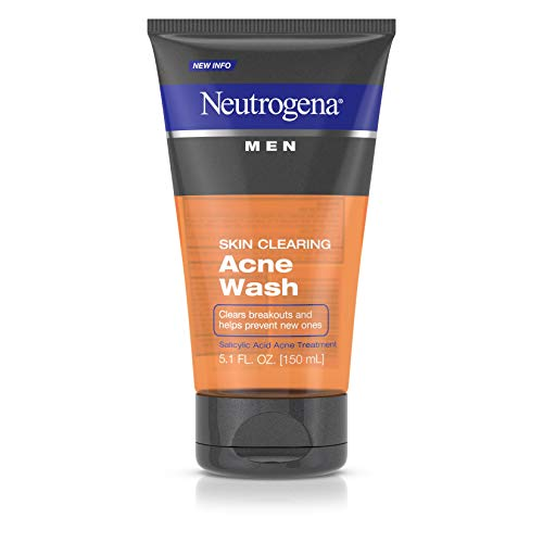 Neutrogena Men Skin Clearing Daily Acne Face Wash with Salicylic Acid Acne Treatment, Non-Comedogenic Facial Cleanser to Treat & Prevent Breakouts, 5.1 Fl Oz, Pack of 2