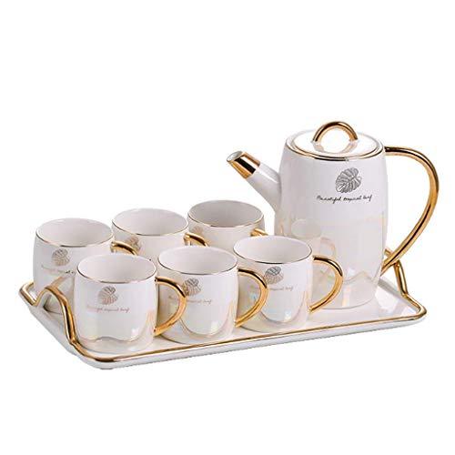 n.g. Wohnzimmer-Accessoires Teeservice Teetassen-Set Porzellan-Teetassen und Teekanne 250 ml Kaffeetassen mit Goldrand und Geschenkbox 8er-Set Kaffeetassen-Set Weiß (Farbe : Weiß)