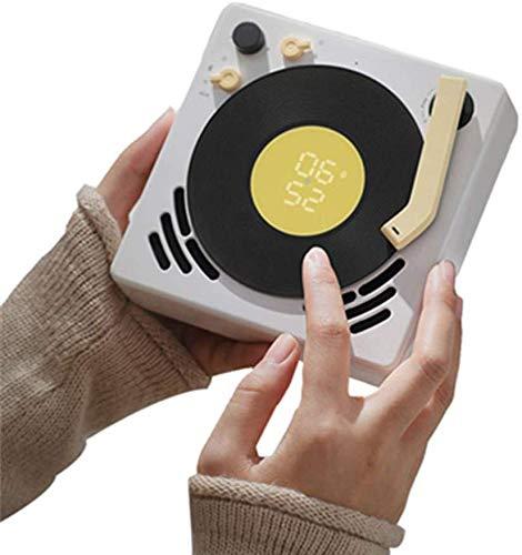 ZGYQGOO Mini Altoparlante Bluetooth Design retrò Grammofono Jukebox Portatile Piccola Sveglia Timer di spegnimento Giradischi può Appendere Riduzione del Rumore Stereo Senza Fili Touch Design