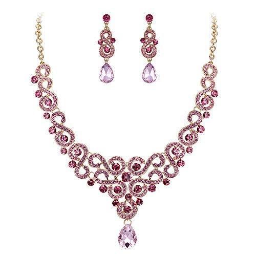EVER FAITH Parure Gioielli Donna Cristallo Matrimonio Lusso Floreale S-Forma Goccia Collana Orecchini Set Rosa Oro-Fondo