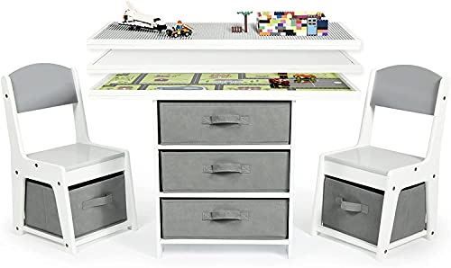Milliard Kids 3-in-1 Play Table and Chair Set Wood with Storage Baskets, Compatible with Lego and Duplo Bricks, Activity Table Playset Furniture with Modern Gray Colors
