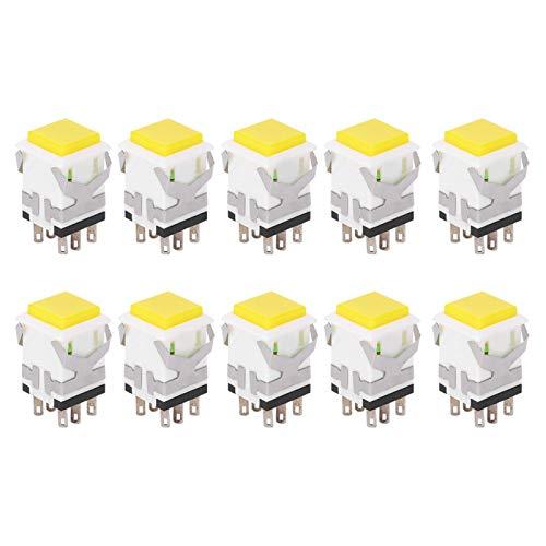 Interruptor de botón pulsador de 50 piezas Interruptor de botón pulsador de enclavamiento 12V Botón pulsador momentáneo Industrial(220V)