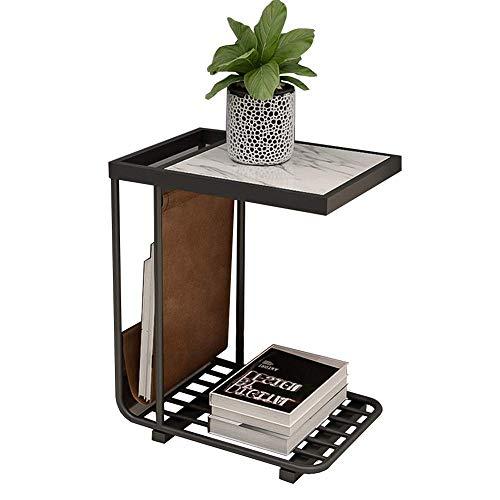 Household products / Furniture Mármol mesa auxiliar, mesa decorativa, Mesilla de noche, mesa auxiliar, Bandeja TV, tabla del ordenador, Sofá turística, Revistero, 17.7''x12.9''x21.6 '' (color: NEGRO)