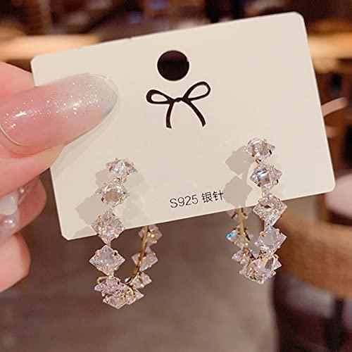 TIANGUO Pendientes Coreanos de Moda para Mujeres exquisitos de Lujo Brillante Cristales de aro de aro de aro Accesorios joyería al por Mayor 2021 Tendencia