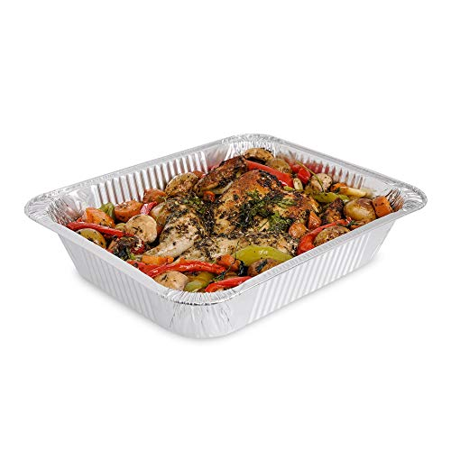 10 Pack Heavy Duty Aluminum Foil Pans ~ Disposable Baking Trays ~ 13 x 9inch (32 X 26cm) ~ Great for Baking Roasting Broiling Cooking Food Storage & More.