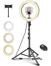 ELEGIANT Selfie Light 10 tums LED Ring Light Ring Light 135 cm Stativ med fjärrkontroll 1/4 skruv 3 Färg 11 Ljusstyrka för kamera GoPro Mobiltelefon TikTok YouTube Vlog etc.