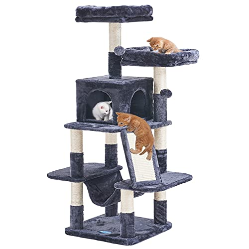 Hey-brother Cat Tree for Indoor Cats, 53 inch Cat Tower with Scratch Posts, Sturdy cat House with cat condo, 2 Well-Padded cat perches, cat Hammock and Fur Balls cat Toy Smoky Gray MPJ017G
