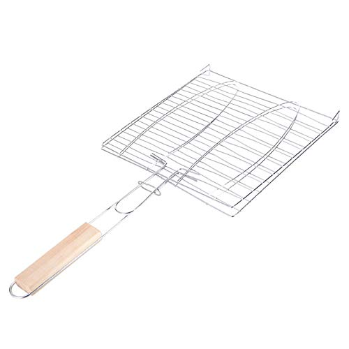 Bold-Type gegrillte Fisch-Clips gegrilltes Fischnetz quadratisches Grillnetz Ordner Grill-Werkzeug Outdoor Grillwerkzeug (Silber)