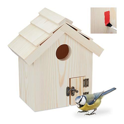Relaxdays Vogelhaus zum Aufstellen, Holz Nistkasten für Wildvögel, Deko Vogelkasten zum Bemalen, HBT 25x23x14 cm, Natur
