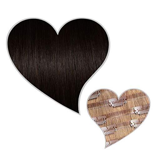 GLOBAL EXTEND® Clip in Extensions nahtlos schwarzbraun#1B 40cm 150g Volume Seamless Clips aus 100% Echthaar Haarverlängerung nahtlose Haarclips Haarverdichtung Real Human Hair