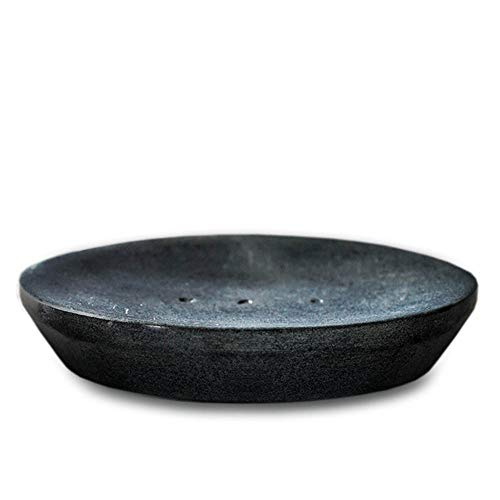 Indus Lifespace Handmade Indian Stone Soap Dish - Grey Soapdish - Bathroom Accessories for Sink, Tub or Shower - 12cm x 10cm