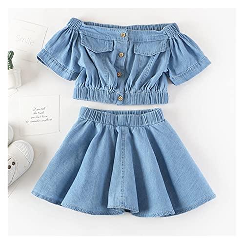 Youpin Conjuntos de ropa de verano para niñas princesa con manga volador+falda de malla de gasa con lazo grande, 2 piezas para bebés y niños (color: MX138 azul, talla para niños: 6)