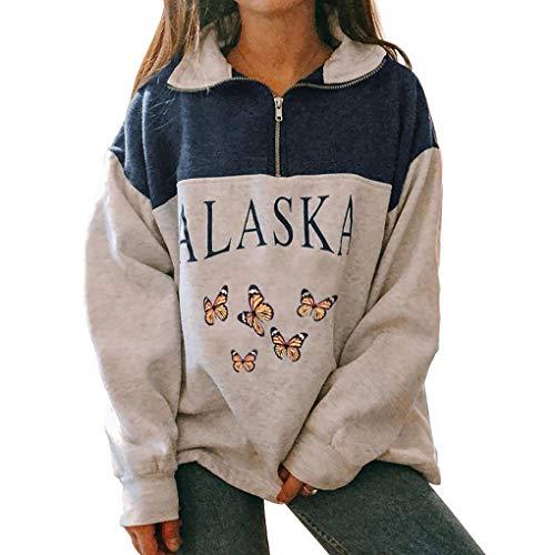Damen-Sweatshirt Alaska, Druck, Grafik, Langarm, Hip Hop, hoher Reißverschluss., Blau XL