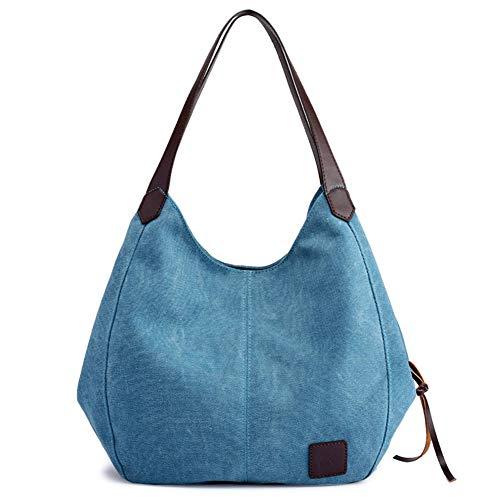 Shoulder Bag Casual Handbag Tote Bag Travel Bag Cotton Canvas bag Roomy purse Durable Lightweight women, Blue, SIZE(LWH):11.025.1211.81in