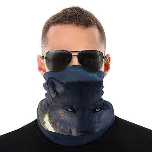 JONINOT Lupo 3D Unisex Sciarpa per il viso Bandana Anelli per le orecchie Viso Rave Passamontagna Uomo Donna Ghette per il collo per polvere Vento Copertura per moto UV
