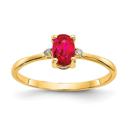 14k Yellow Gold Diamond and Ruby Birthstone Ring, Size 51 1/2