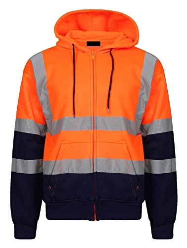 Islander Fashions Herren Langarm Hi Visibility Zip Up Executive Kapuzenpulli Erwachsene Arbeitssicherheit Jacke Sweatshirt Orange Navy 5X Large