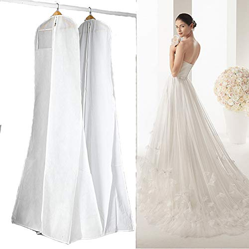180cm/70inch Wedding Dress Garment Bags Bridal Gown Dustproof Cover Storage Bag for Long Dresses and Gowns