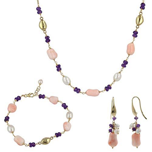 """Gioiello Italiano - Parure""""Joia"""" in oro giallo 18kt con corallo rosa e perle naturali, collana, bracciale, orecchini, da donna"""