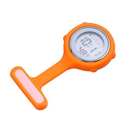 UKCOCO Clip en El Reloj de Enfermera de Silicona Colgante Digital de Cuarzo Fob Reloj Pin- On Broche Reloj de Solapa para Enfermeras Médicos Mujeres Hombres