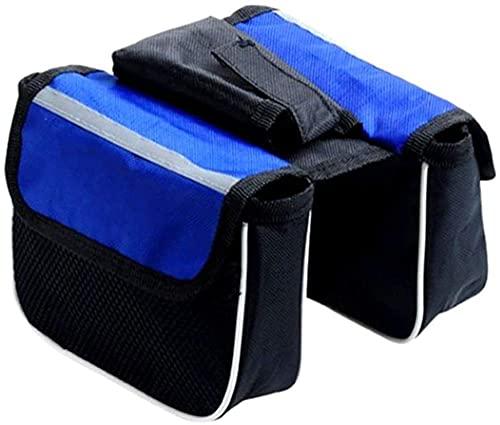 Bolsa de Bicicleta Bolsas de Tubo Frontal a Prueba de Agua Bicicleta de montaña Bicicleta de montaña Dos Bolsa de Silla de Montar Bolsa de Monte Bolsas Delanteras Bolsas de Ciclismo-Negro y Azul