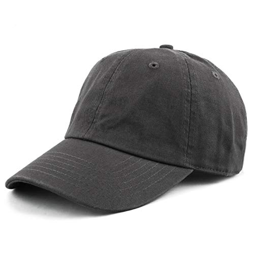 The Hat Depot 300N Washed Low Profile Cotton and Denim Baseball Cap (Charcoal)