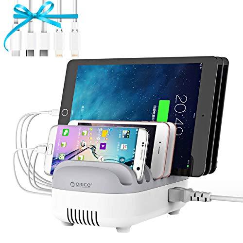 ORICO 40W 5 Anschlüsse USB Smart Ladestation mit 5 Kabel, 5V/2.4A Dockingstation mit Handy & Tablet Halter Kompatibel mit Phone, Pad, Samsung Galaxy, Nexus, HTC, Motorola, LG & mehr