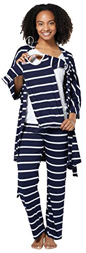 HAPPY MAMA Damen Mutterschaft Pyjama-Set Baby Mutter Passendes Set 181p (Marine Streifen, 38, M)