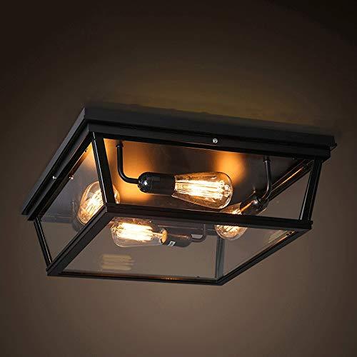 ZXT Retro LED-plafondlamp, industriële plafondlamp, van metaal, kooi, half geïntegreerd, antiek, plafond, allee, balkon, keuken, buiten, waterdicht, wandlamp