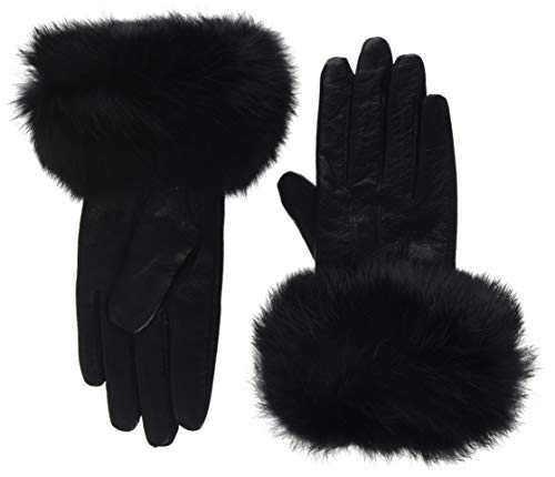 Lemontree Damen Winter Sheep Leder und Rabbit Pelz Handschuhe Mit Touchscreen Funktion ZT1, Schwarz, Gr. L