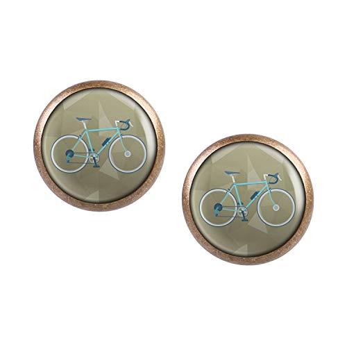 Mylery Ohrstecker Paar mit Motiv Renn-Rad Retro Türkis Grün Blau bronze 12mm