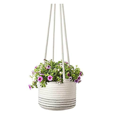 Plantador de pared cuerda tejida planta canasta cordón colgando macetas de flores moderno organizador de almacenamiento Percha para la decoración del hogar al aire libre interior ( Color : Gray L )